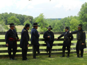 General Grant and staff relax in the shade at the McClean House.