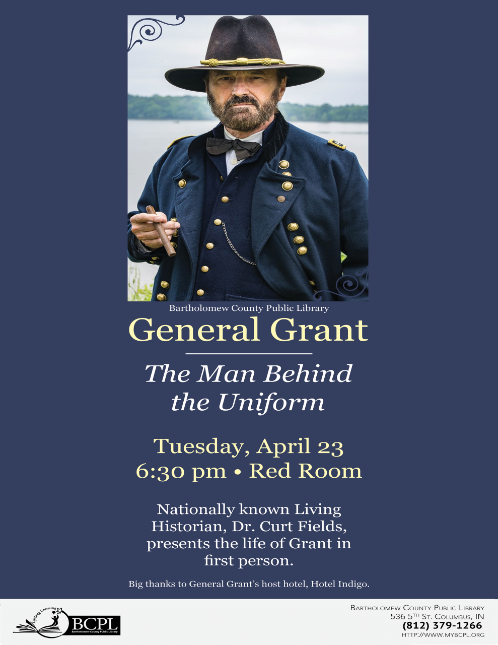 General Grant Returns to the Bartholomew County Public Library in Columbus, Indiana, on Tuesday, April 23rd, Instant @ Bartholomew County Public Library